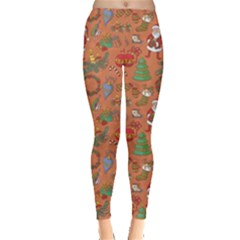 Colorful Winter Christmas Sketchy Pattern Leggings