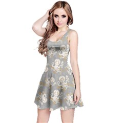Gray Octopus Short Sleeve Skater Dress  by CoolDesigns