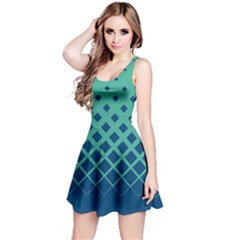 Mint Blue Gradient Rhombuses Reversible Sleeveless Dress by CoolDesigns
