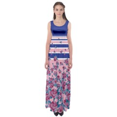 Blue Stripes Empire Waist Maxi Dress