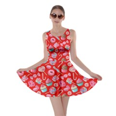 Red Yummy Colorful Sweet Lollipop Candy Macaroon Cupcake Donut Seamless Skater Dress