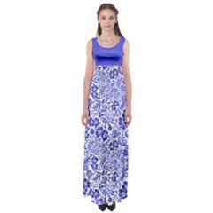 Vintage Blue Empire Waist Maxi Dress
