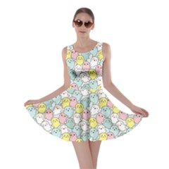 Pink Yellow Kawaii Cute Ghosts Skater Dress