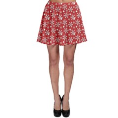 Red Pattern Winter Christmas Skater Skirt