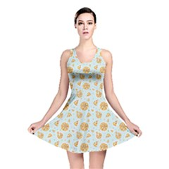 Gray Colorful Cartoon Pizza Texture With Confetti Reversible Skater Dress by CoolDesigns