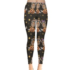 Black Halloween Two Cartoon Owls With Pumpkins Leggings by CoolDesigns