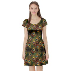 Green Pattern Peacock Feathers Short Sleeve Skater Dress by CoolDesigns