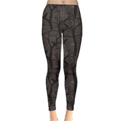 Black Pattern With Ravens Women s Leggings by CoolDesigns