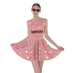Coral Fun Night Sky The Moon And Stars Skater Dress