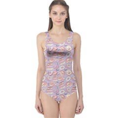 Violet Donut Pattern Women s One Piece Swimsuit by CoolDesigns