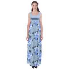 LightBlue Roses Empire Waist Maxi Dress by CoolDesigns