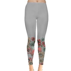 Gray Floral Leggings  by CoolDesigns