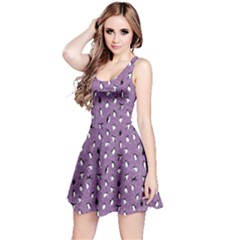 Purple Pattern With Little Cute Penguins On Blue Sleeveless Dress