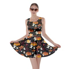 Colorful Halloween Cartoon Bright Skater Dress