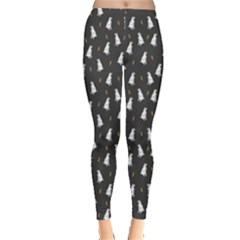 Dark Floral Pattern With Rabbit And Carrot Bunny Leggings