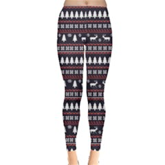 Black Christmas Pattern Pattern Women s Leggings by CoolDesigns