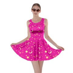 Hot Pink Fun Night Sky The Moon And Stars Skater Dress