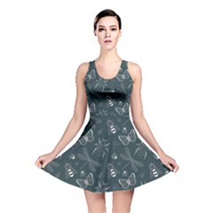 Teal Insect Pattern Reversible Skater Dress