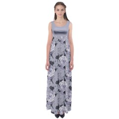Gray Roses Empire Waist Maxi Dress