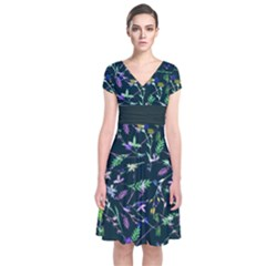 Dark Green Floral 2 Short Sleeve Front Wrap Dress by CoolDesigns