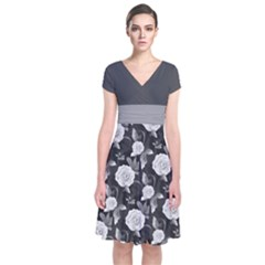 Dark Gray Short Sleeve Front Wrap Dress by CoolDesigns