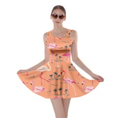 Orange Flamingo Bird Pattern Skater Dress
