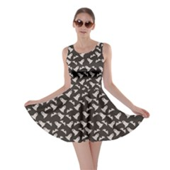Black Halloween Ghost Pattern On A Dark Skater Dress