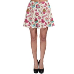 Pink Yummy Colorful Sweet Lollipop Candy Macaroon Cupcake Donut Seamless Skater Dress by CoolDesigns