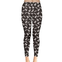 Black Halloween Ghost Pattern On A Dark Women s Leggings by CoolDesigns