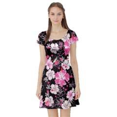 Black Hawaii Short Sleeve Skater Dress