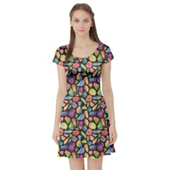 Colorful Colorful Watercolor Gem Pattern Short Sleeve Skater Dress by CoolDesigns