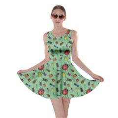 Green Color Bugs And Beetles Green Pattern Skater Dress
