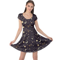 Black A Fun Night Sky The Moon And Stars Cap Sleeve Dress by CoolDesigns