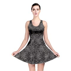 Black Halloween Spider Web Pattern Reversible Skater Dress by CoolDesigns