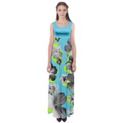 Hawaii Blue Empire Waist Maxi Dress