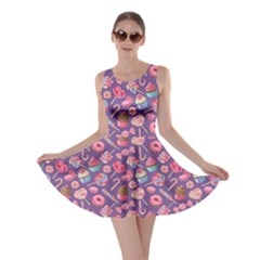 Purple2 Lollipop Candy Macaroon Cupcake Donut Skater Dress by CoolDesigns