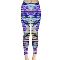 Purple Feather Aztec Tribal Leggings  by CoolDesigns