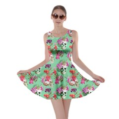 Light Green Skull and Flowers Pattern Skater Dress by CoolDesigns