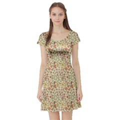 Colorful Floral Pattern With Butterflies On Beige Short Sleeve Skater Dress by CoolDesigns