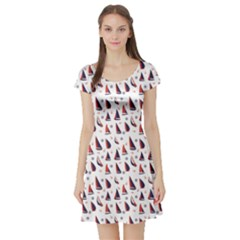 Purple Pattern With Nautical Elements Short Sleeve Skater Dress by CoolDesigns