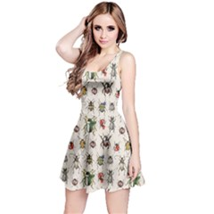 Gray Pattern With Watercolor Beetles Sleeveless Skater Dress