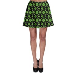 Green Shamrock Pattern Black Skater Skirt by CoolDesigns