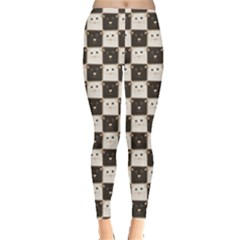 Black Chessboard Made Black And White Cats Leggings by CoolDesigns