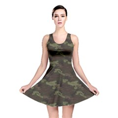 Green Camouflage Pattern Reversible Skater Dress