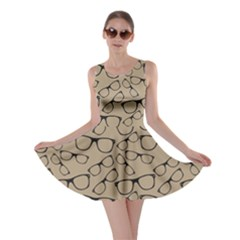 Brown Glasses Pattern Retro Sunglasses Skater Dress by CoolDesigns