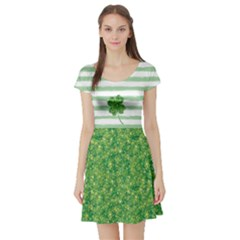 Shamrock Sparkles Short Sleeve Skater Dress by CoolDesigns