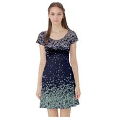 Navy4 Vintage Floral Short Sleeve Dress