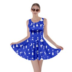 Royal Blue Lovely Cats Pattern Skater Dress by CoolDesigns