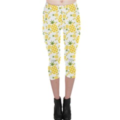 Yellow Pineapple Pattern Capri Leggings