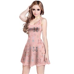Pink Pattern With Sea Horses Shells And Stars Short Sleeve Skater Dress